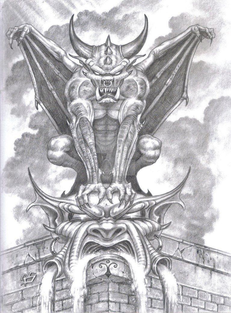 Gargoyle Sketch In Pencil