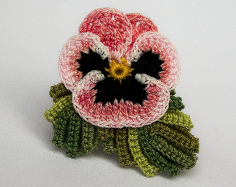 Crochet Flower Pin Irish Crochet Pansy Pin Lapel Pin Scarf Pin Hat ...
