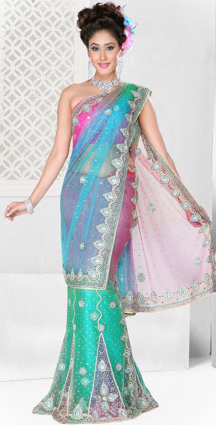 Latest designer net lehenga style saree indian wedding for Sari inspired wedding dress
