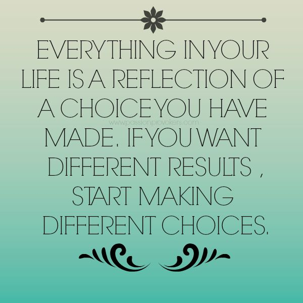 """Choices Quotes """"Everything In Your Life Is A Reflection Of"""