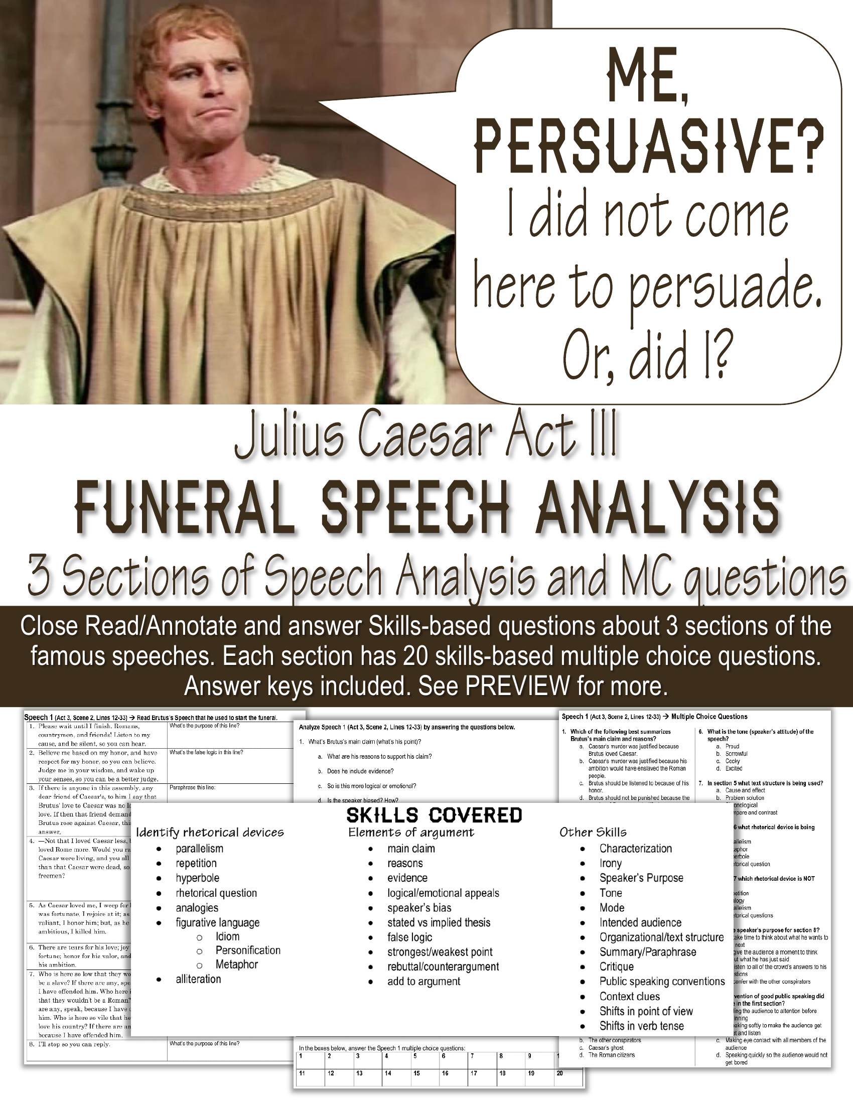 julius caesar speech In act iii, scenes 2 and 3 of julius caesar, two of caesars friends speak at his funeral, brutus and antony first, brutus speaks in order to answer the crowd's questions about caesar's .