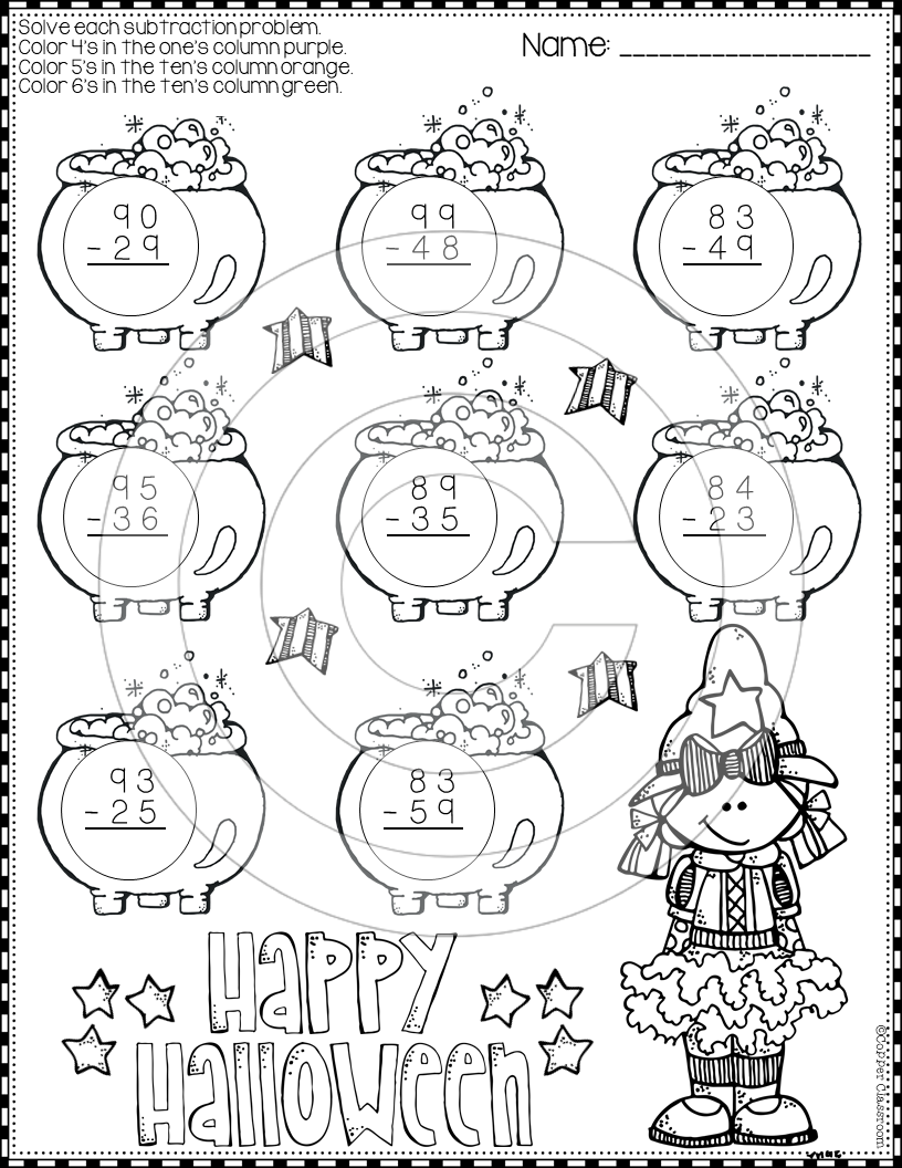 Halloween 2 Digit Subtraction With Regrouping Color By Code Printables Subtraction Halloween Math Subtraction Practice [ 1056 x 816 Pixel ]