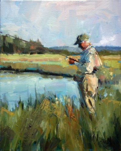 Late Day Light- fly fishing & painting techniques, painting by ...