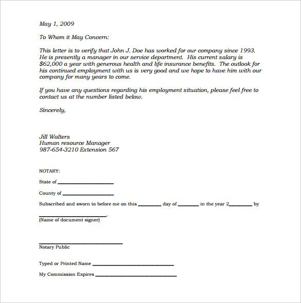 letter template with notary  Sample Notary Letter - 14+ Notarized Letter Templates PDF ...