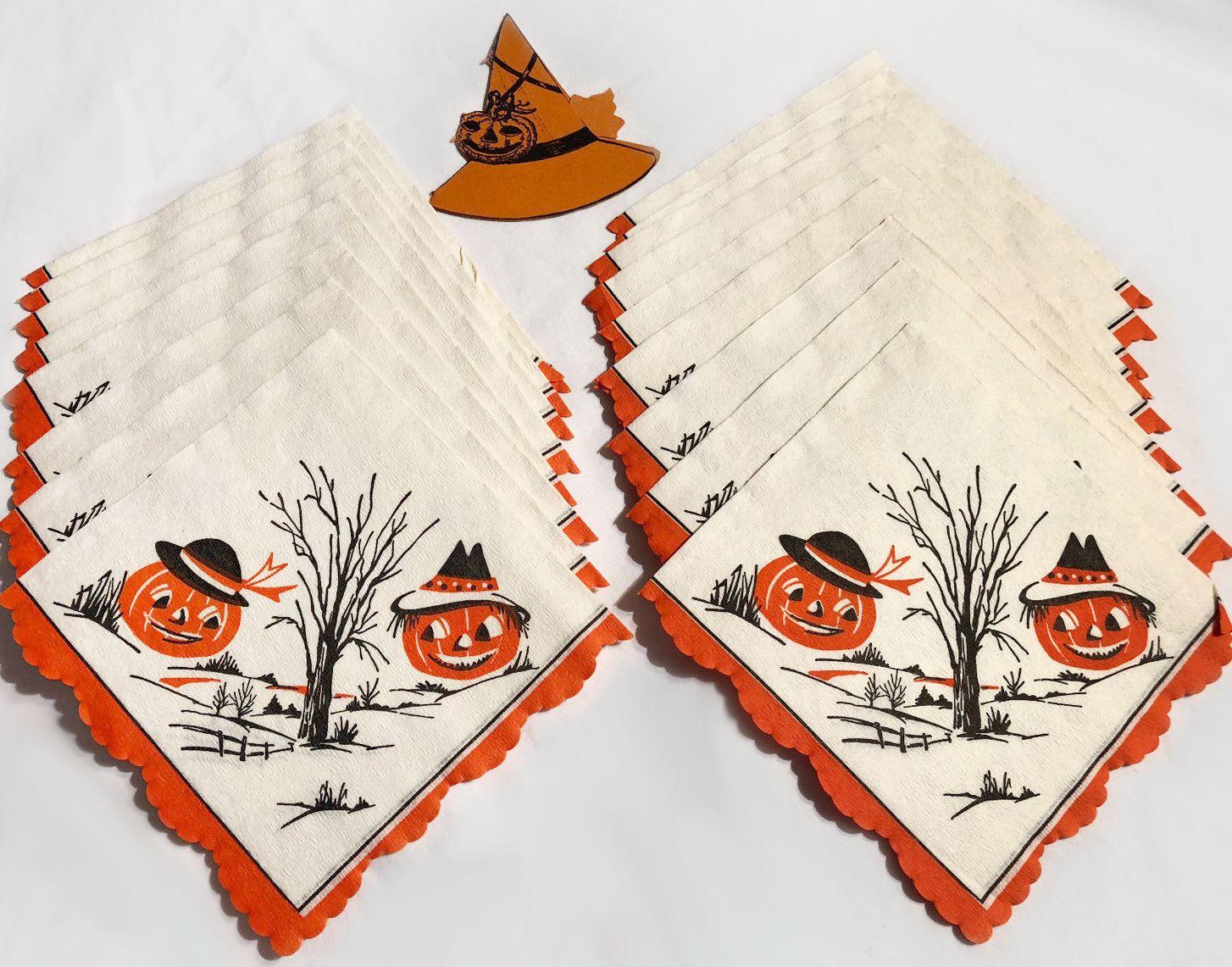 Details about 17 Vintage Halloween Crepe-like Napkins