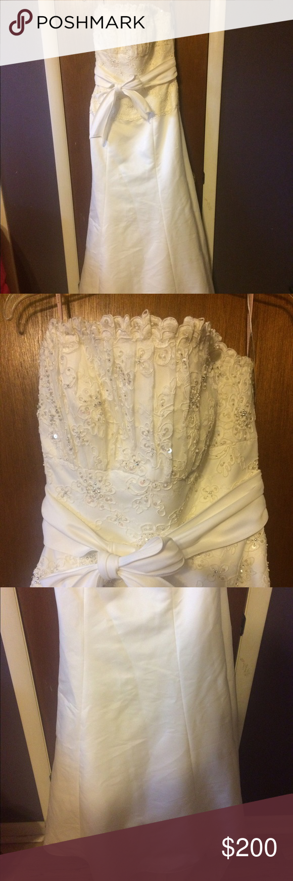 NWT ivory wedding dress NWT strapless ivory wedding dress. Beading on bodice. Sash at waist. Dresses Wedding