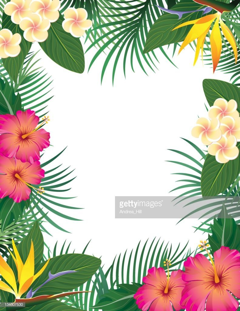 A page border made up of tropical flowers and leaves
