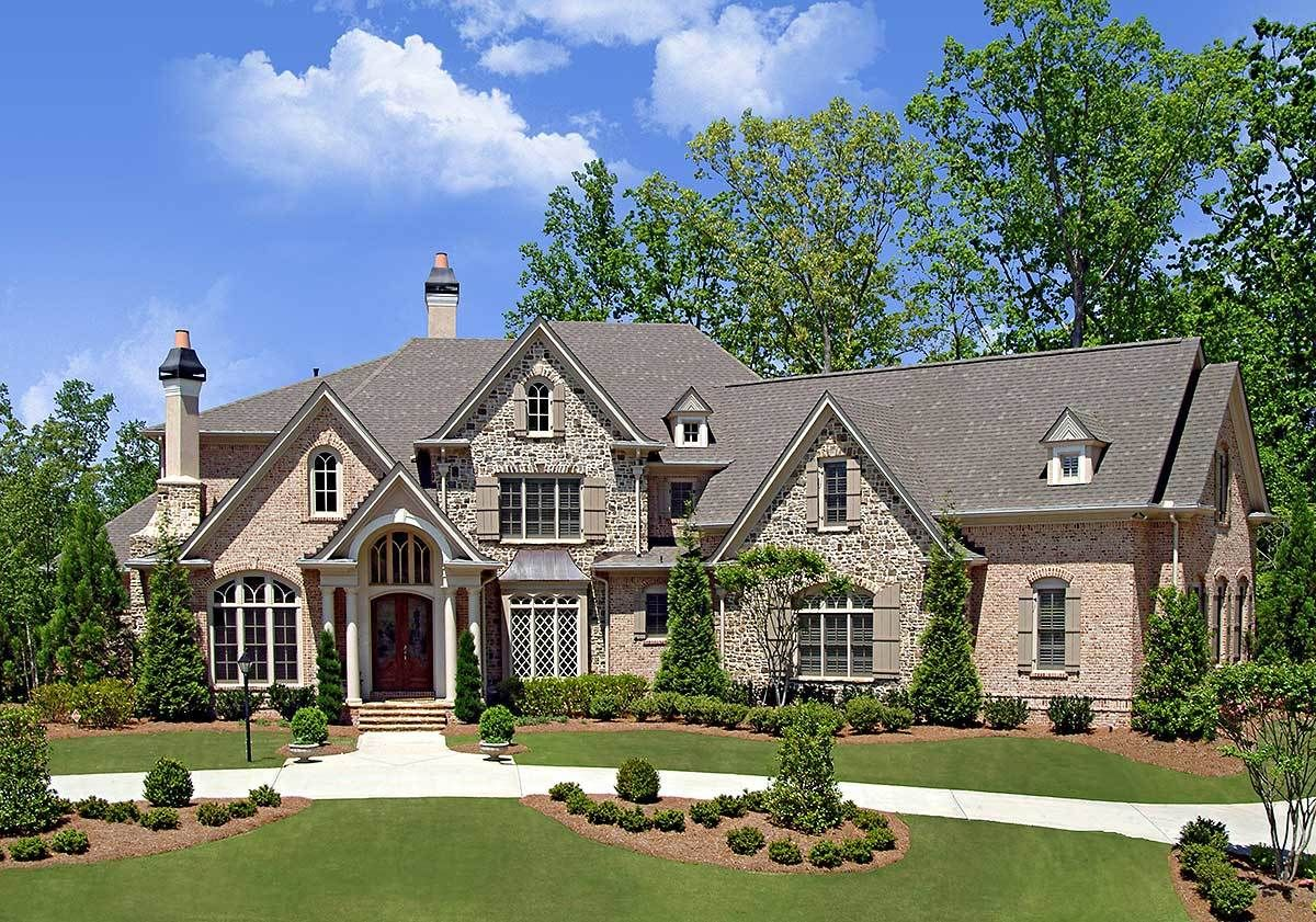 Plan  15733GE 4 Bed Luxury House  Plan  with Angled Garage