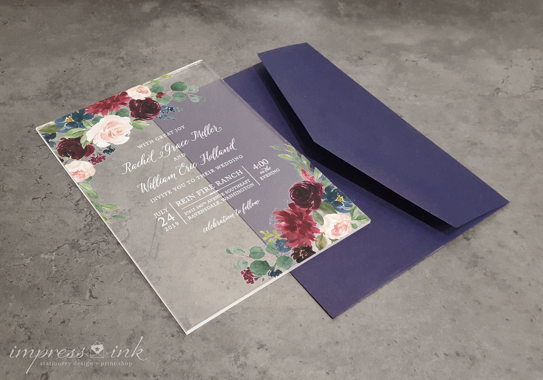 Clear Acrylic Invitations Plastic