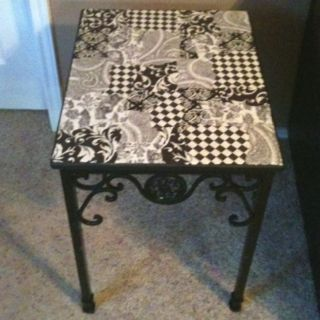 Bought The End Tables At A Garage Sale And Decoupaged The Tops. Looks Like A