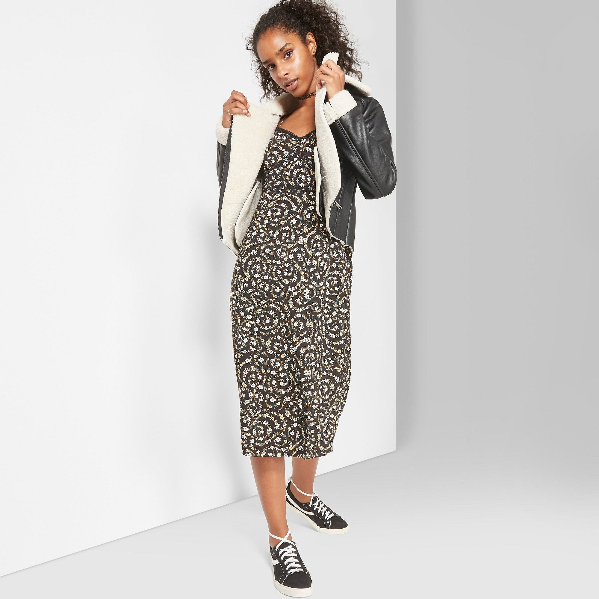 ec92527cd07a Women's Floral Print Lace Trim Strappy Slip Midi Dress - Wild Fable Black  Xxl