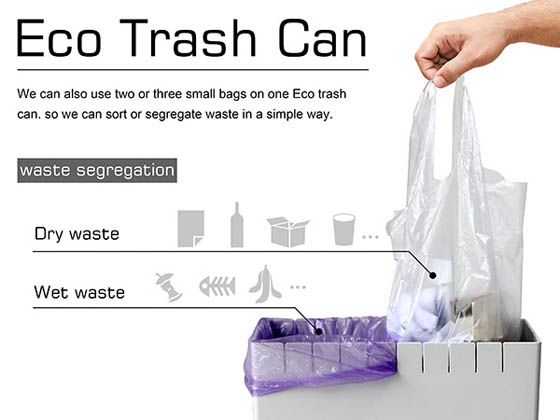 Eco Trash Can An Innovative Trash Can Helps To Reuse Plastic Bag And Sort Waste Trash Can Reuse Plastic Bags Trash