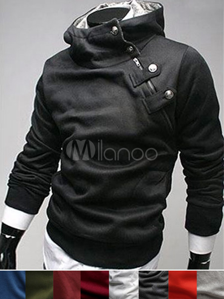 aadab801d547d6 New Arrival Fashion Buttons Cotton Men s Desmond Hoodie(9 Colors) -  Milanoo.com