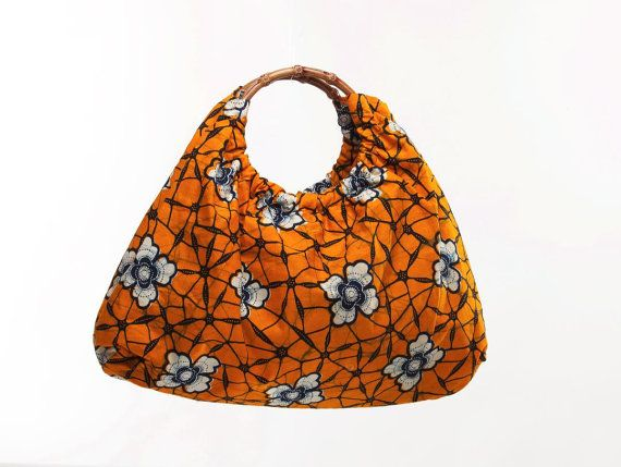 Ankara / African fabric Tote Orange and blue by teeesdesigns, $45.00