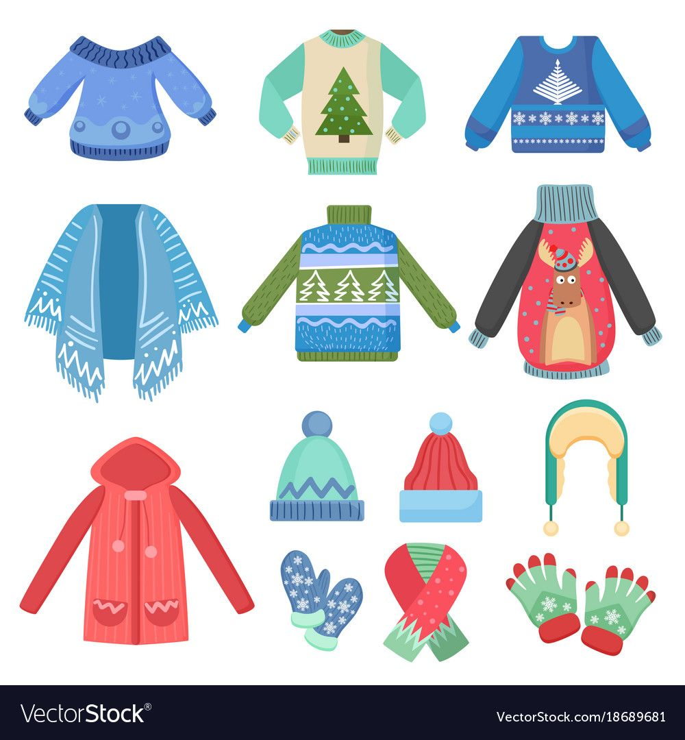 Set Of Christmas Design Warm Winter Clothes Scarf Winter Hat Coat And Hats Jacket And Gloves Winter Fashi Winter Outfits Warm Warm Design Christmas Design