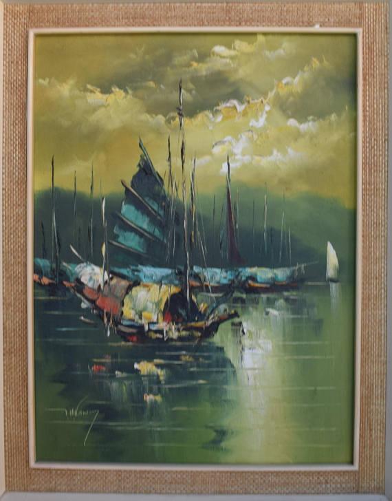 Vintage Chinese Junk Boat Hong Kong Harbor, Original Painting ...