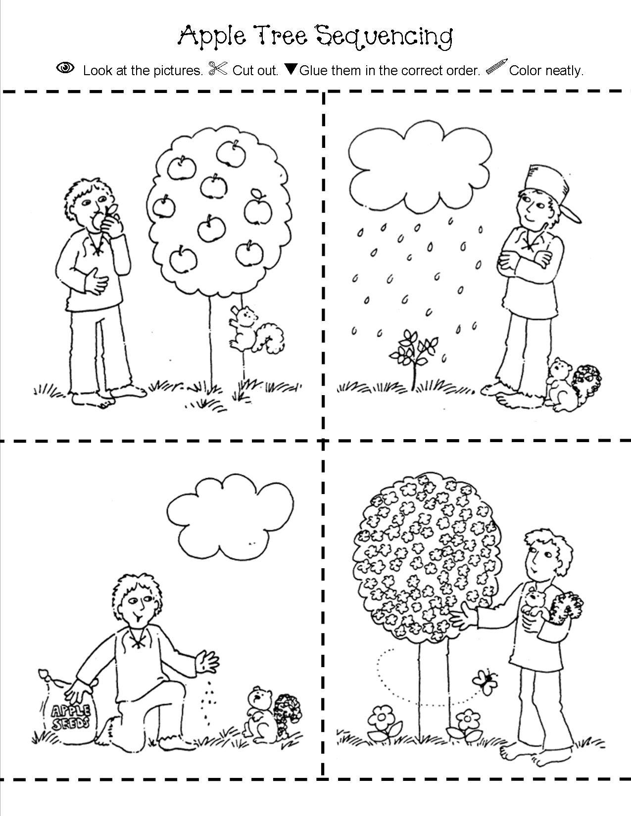Apple Tree Sequencing Fall Kindergarten Johnny Appleseed Activities Apple Life Cycle [ 1650 x 1275 Pixel ]