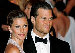 Gisele Bündchen and Tom Brady at Metropolitan Museum of Art gala, New York, May 5, 2008.