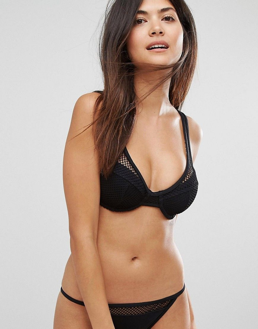 4cf3f07c13467f Image 1 of ASOS FULLER BUST Exclusive Fishnet Overlay Plunge Bikini Top DD-G