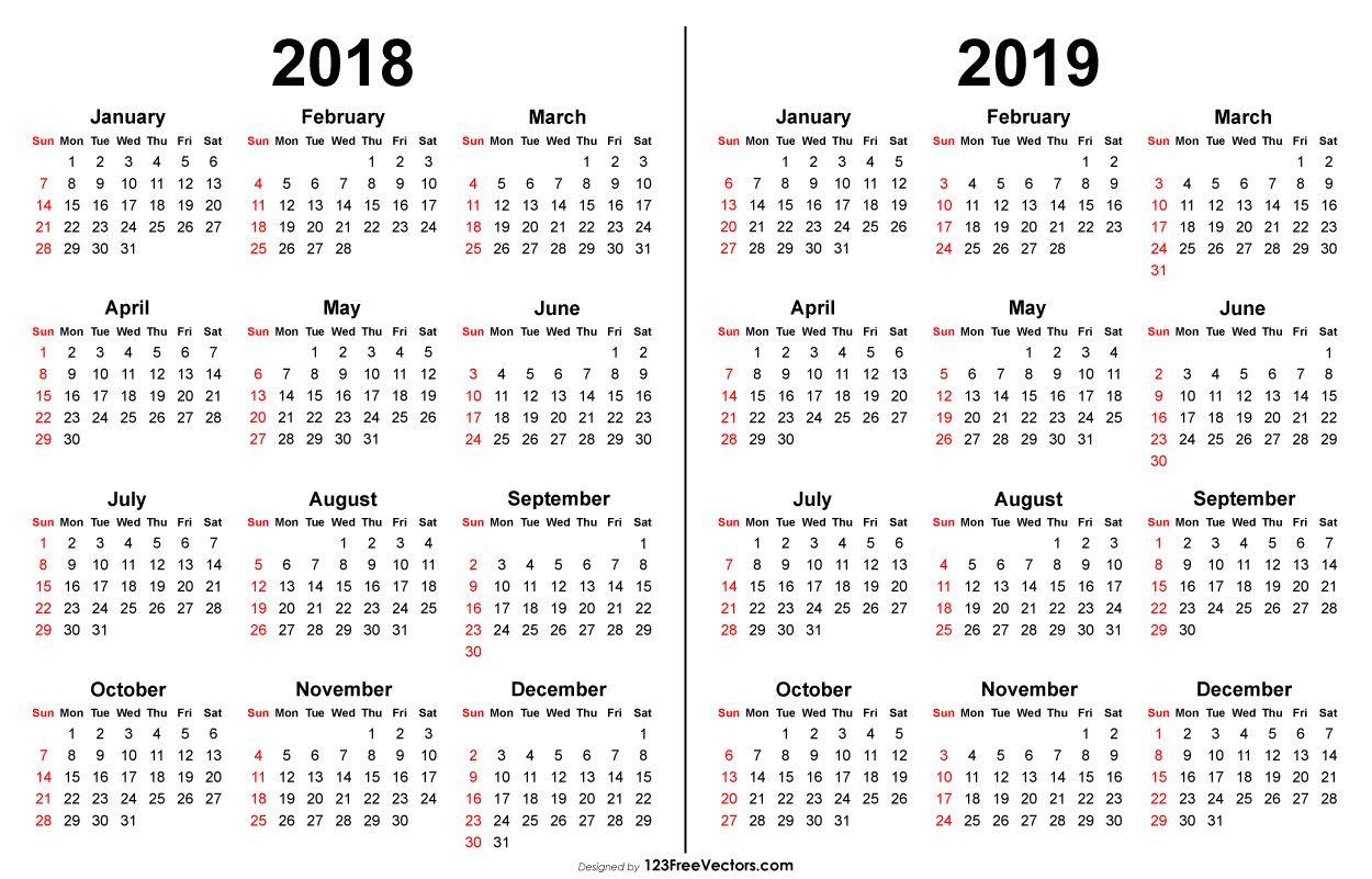 Vector De Calendario 2020.2018 And 2019 Calendar Printable 2019 Calendar Printable