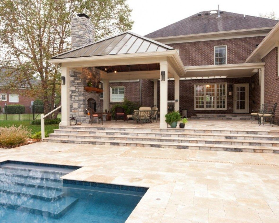Spacious Travertine Masonry Patio | outdoor spaces | Patio ... on Travertine Patio Ideas id=14155