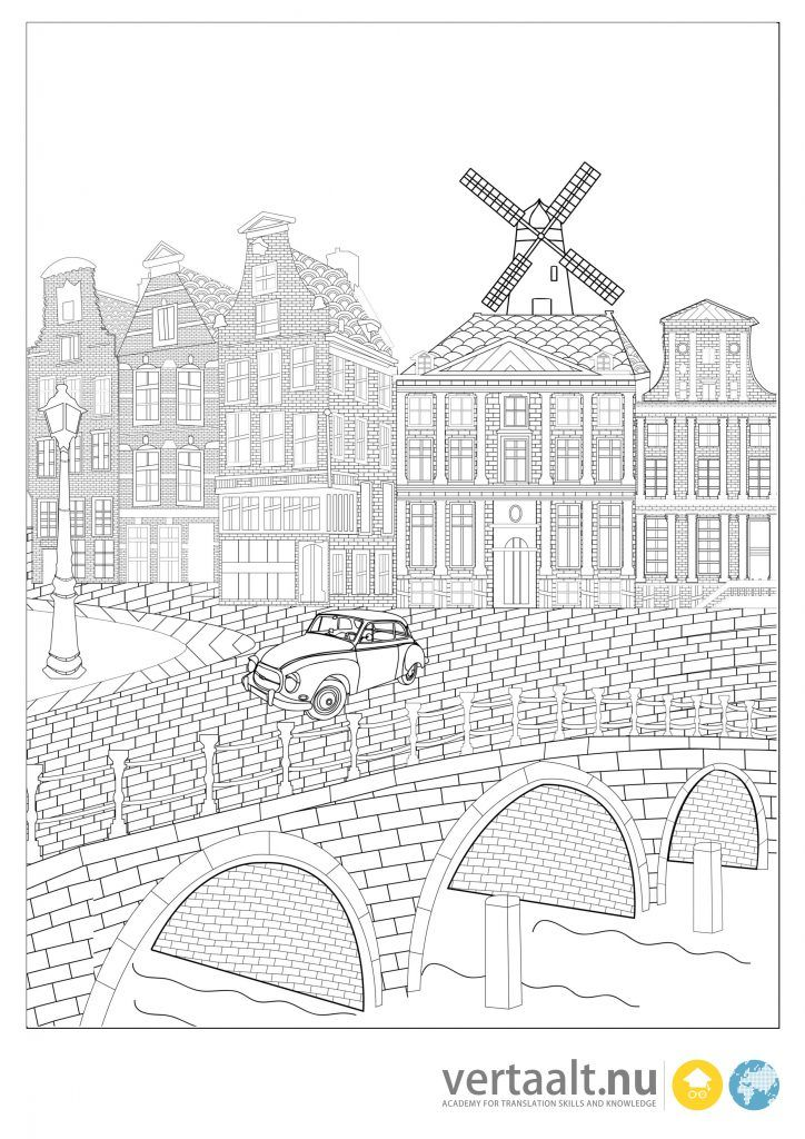 Adult coloring page Amsterdam | ausmalbilder | Pinterest | Adult ...