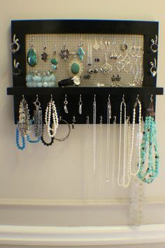Black Lacquer Wall Mounted Jewelry Organizer Wall Organizer