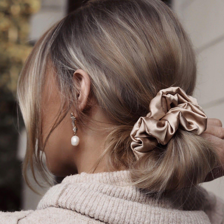 Luxe Pure Silk Hair Scrunchie - Golden Beige by Nice Cream London