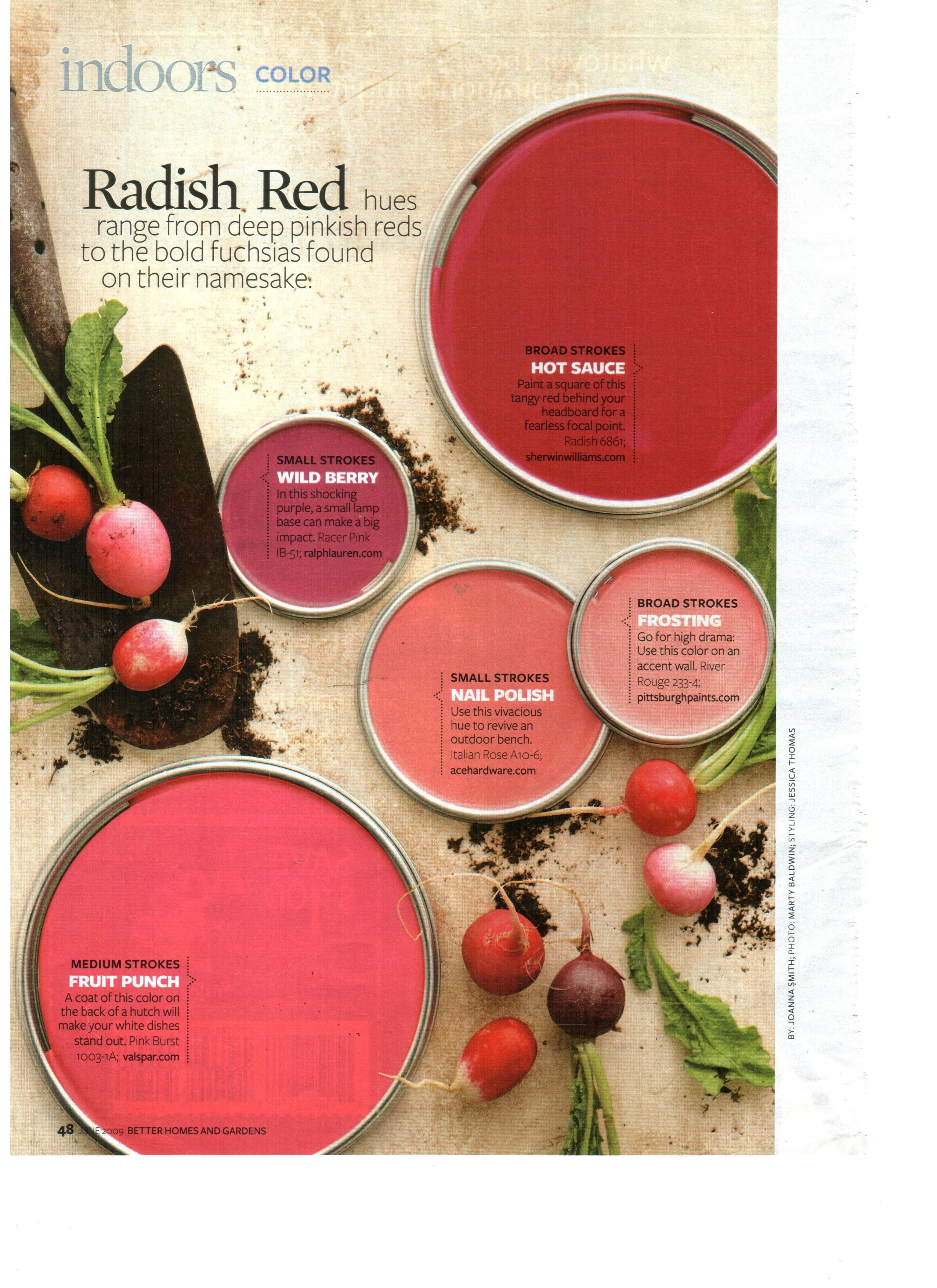 Radish Red Paint Colors Via Bhg Nail Polish Is The Color I D Like To Do Behind My Bed Ax An A Backdrop Wall Faux Headboard Would Go Well