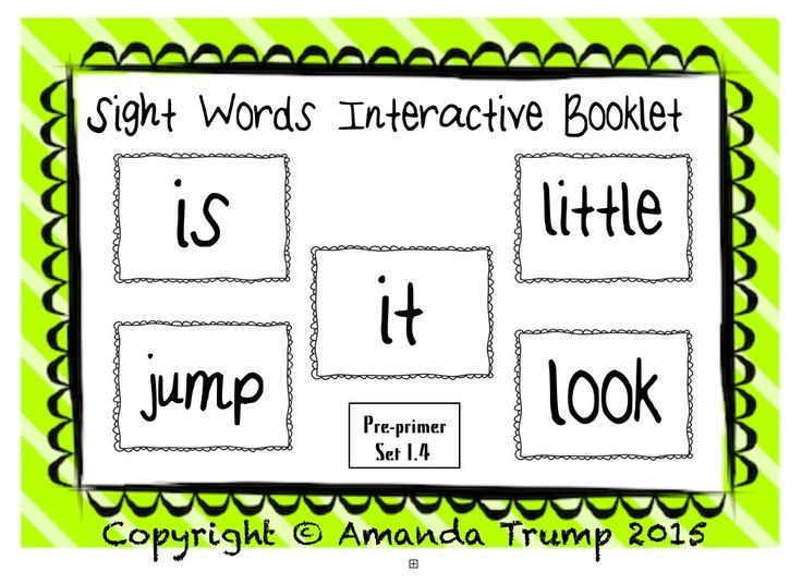 Sight Words (is, it, little, look, jump) Interactive Booklet