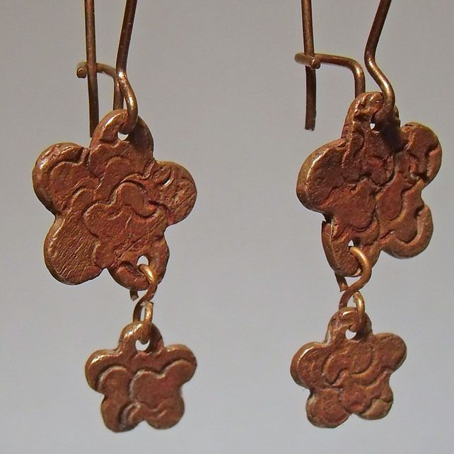 Textured Flower Copper Earrings