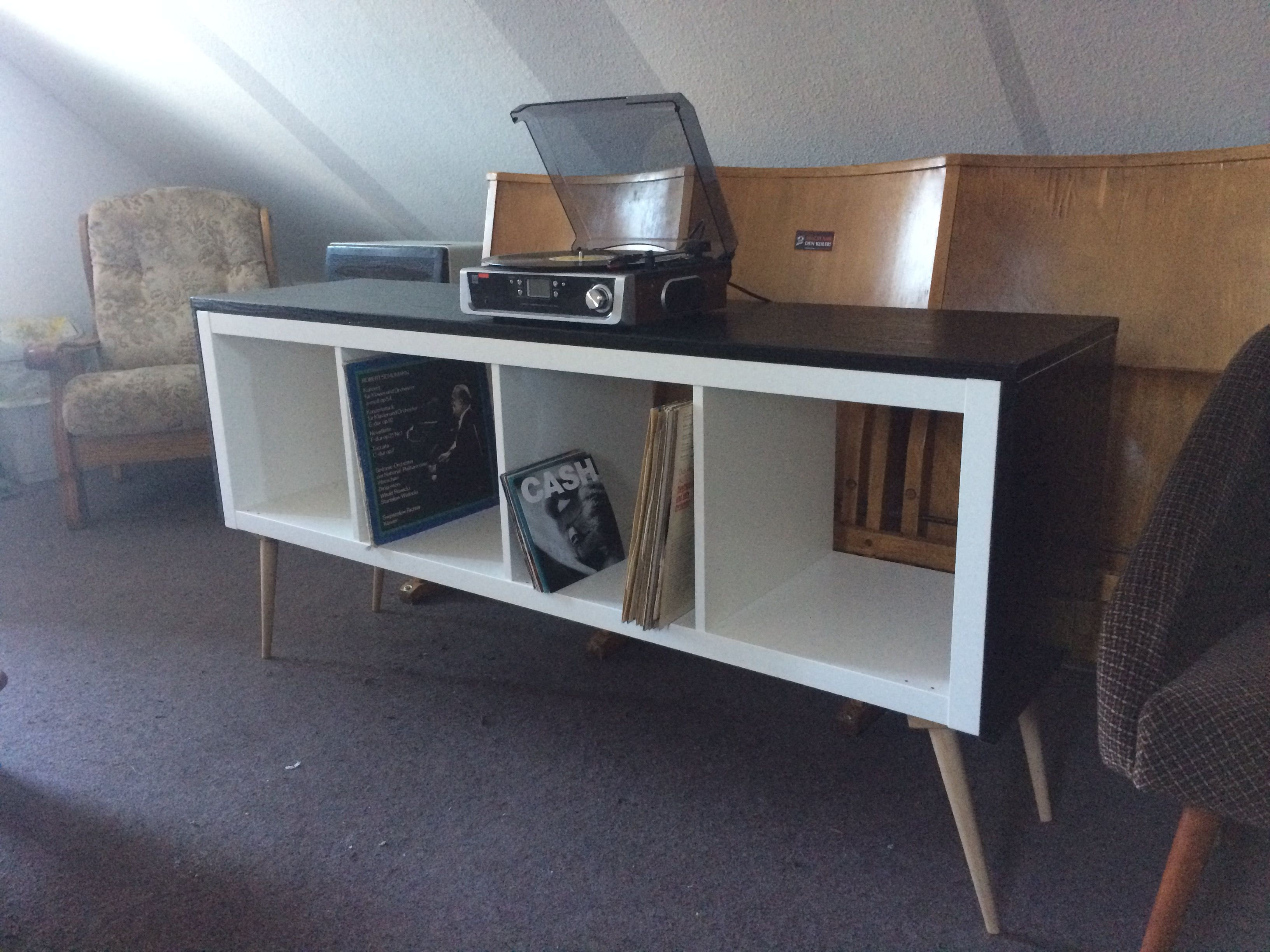 Kallax wohnzimmer ~ Kallax hack plattenspieler regal vinyl retro expedidt