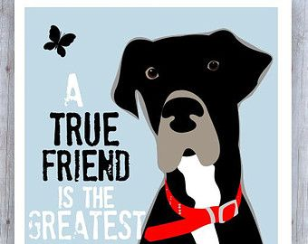 Great Dane Art Decor Friendship Quote Dog