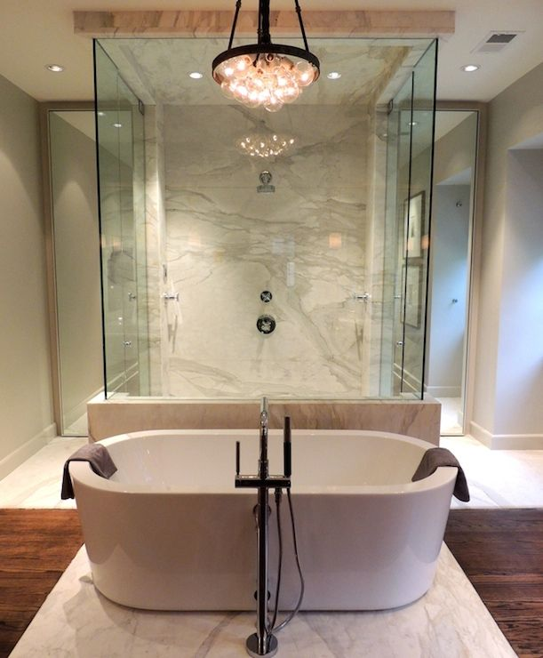 Free standing tub walk through shower chad james group for Walk in tub bathroom designs