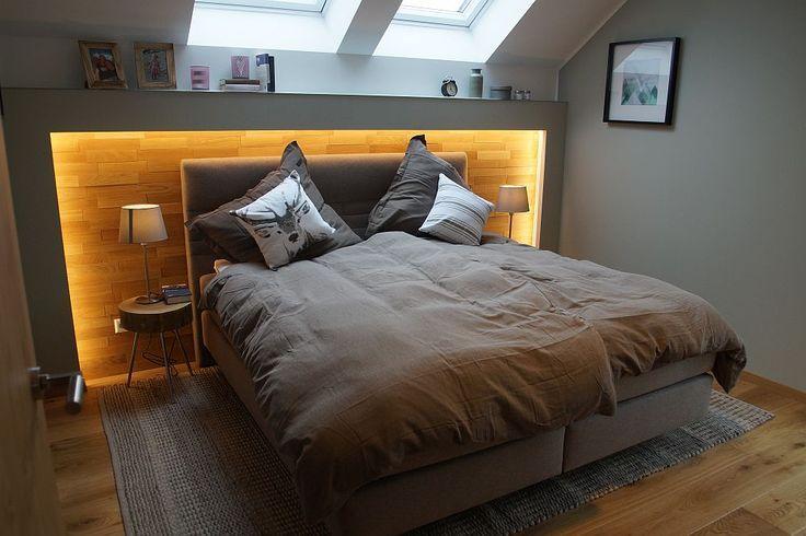 Schlafzimmer mit Dachschräge – Inneneinrichtung OKAL Fertighaus Fellbach – Haus… – 2019 – Curtains Diy