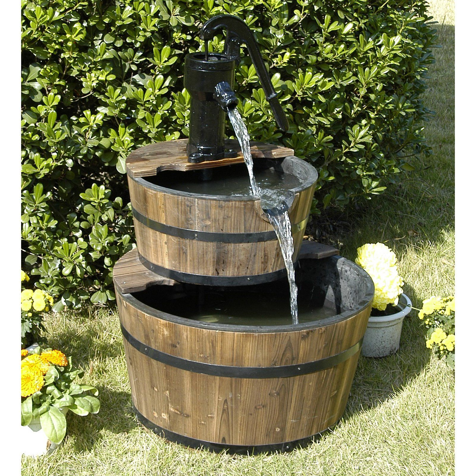 hgc 2 tier wood barrel outdoor fountain bring the serenity and