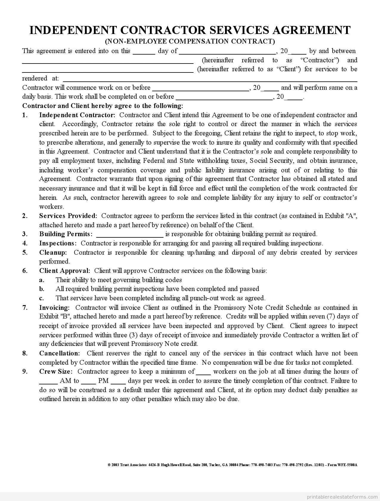 Free Printable Independent Contractor Agreement Form  Printable
