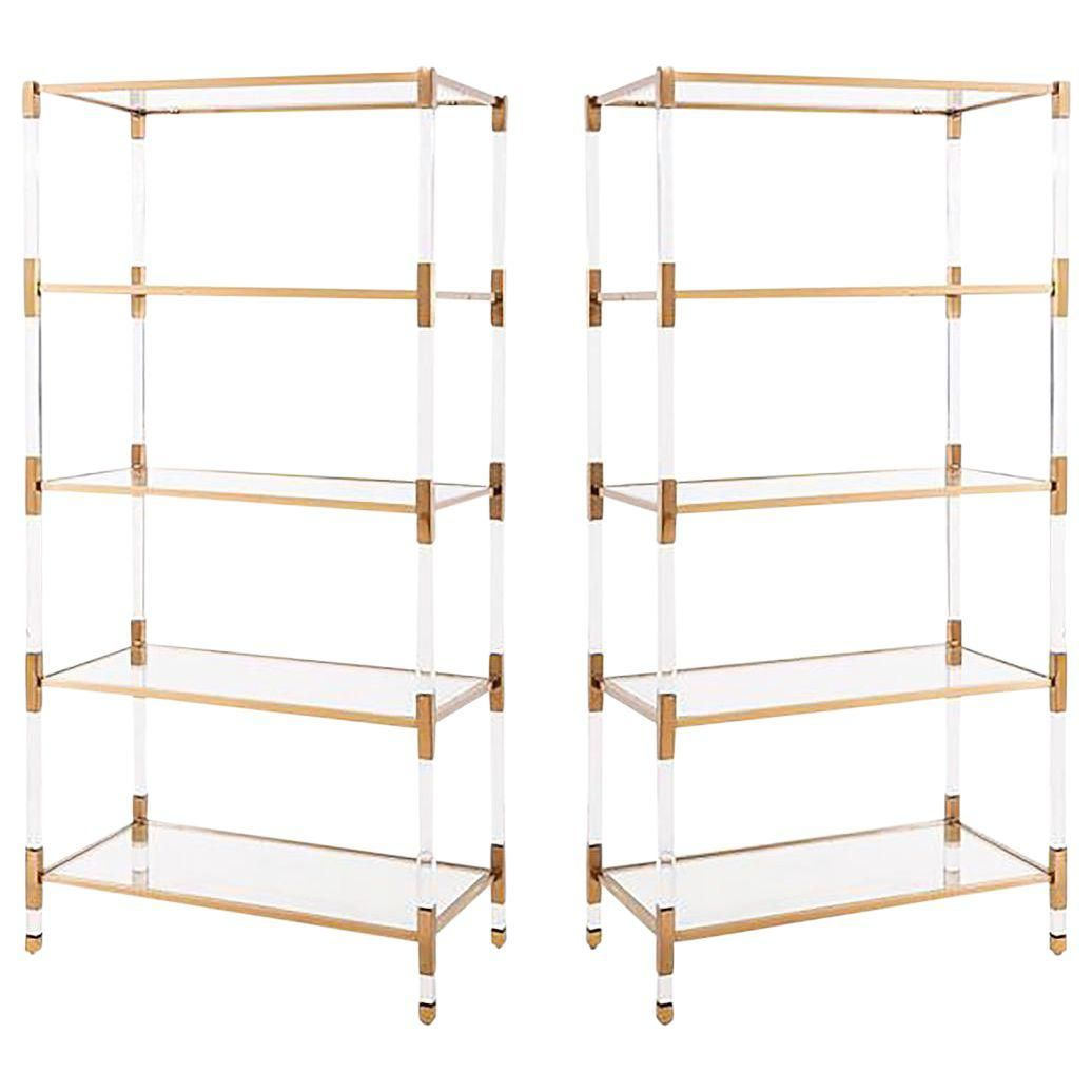 Set Of Maelie Lucite Acrylic Gold Etagere Bookcases With Glass Shelves A Pair Chic Office Decor Etagere Bookcase Gold Etagere