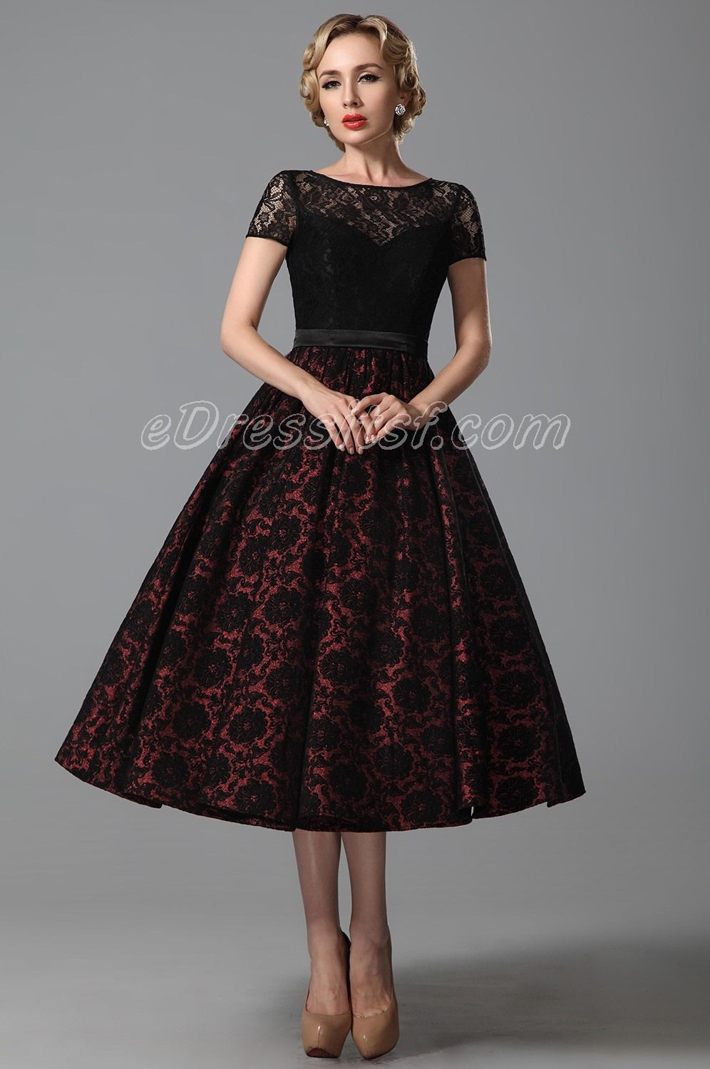 2015 New Vintage Short Lace Sleeves Tea Length Cocktail Dress Party ... 75ad26929f64