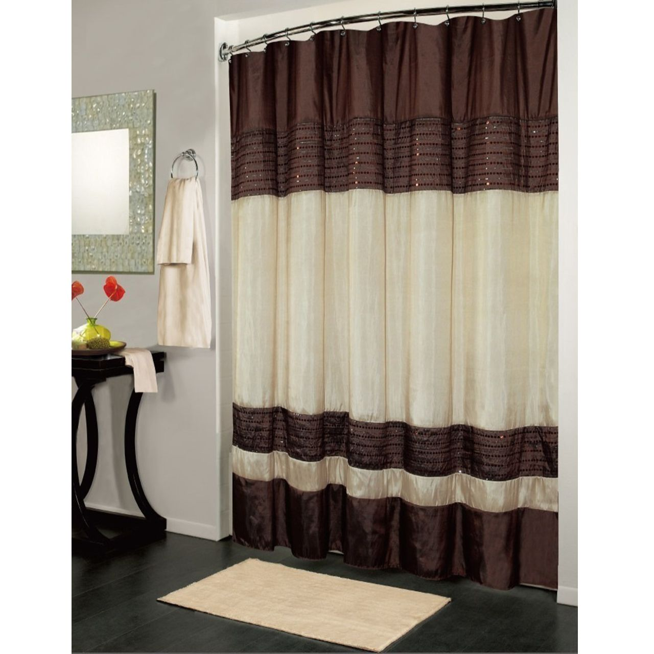 Ibiza Striped Sequin Accents Brown Ivory Shower Curtain With