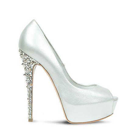 Swarovski Casadei Wedding Evening P Toe Platform Pump In Bright White Na With Embellished Tone Sur Crystals Heel