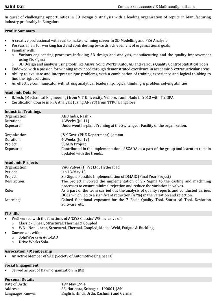 Automobile Resume Samples Hr Resume Human Resources Resume Mechanical Engineer Resume