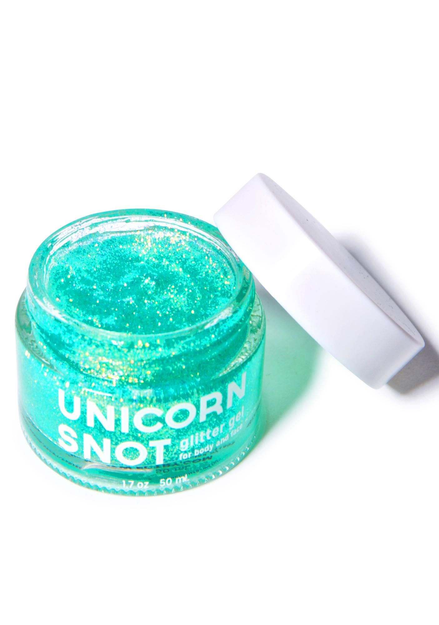 Unicorn Snot Blue Glitter Gel this body glitter is formulated for body and eyes leaving yew with iridescent blue colored glitter anywhere ya place this cool gel.