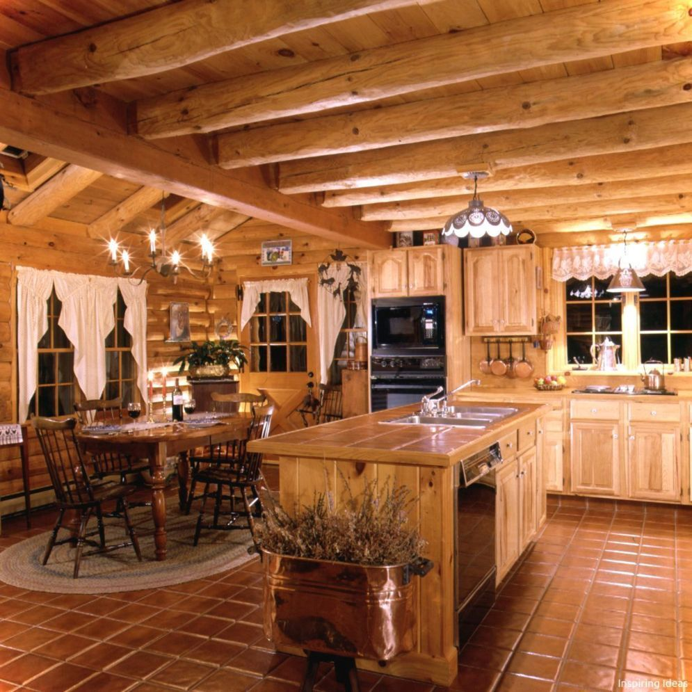 Stunning 40 Kitchen Ideas Giving The Warm Cabin Designs In Amazing Rustic Concept Warm And Friendly Ca Log Home Kitchens Log Cabin Kitchens Log Home Kitchen