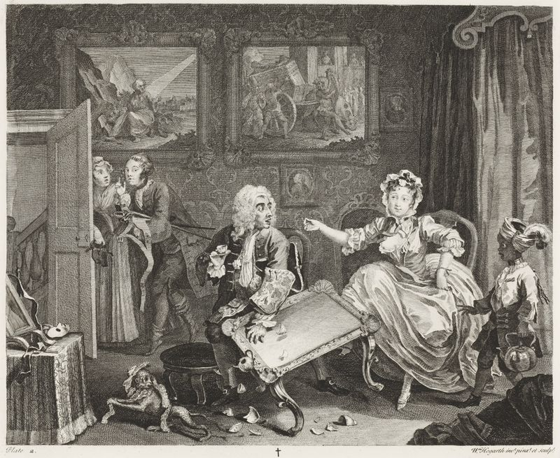 William Hogarth (1697-1764), A Harlot's Progress, Plate 2, 1732. Etching and Engraving, 31,3 x 38 cm. Städel Museum, Frankfurt am Main. Photo: Städel Museum – ARTHOTHEK