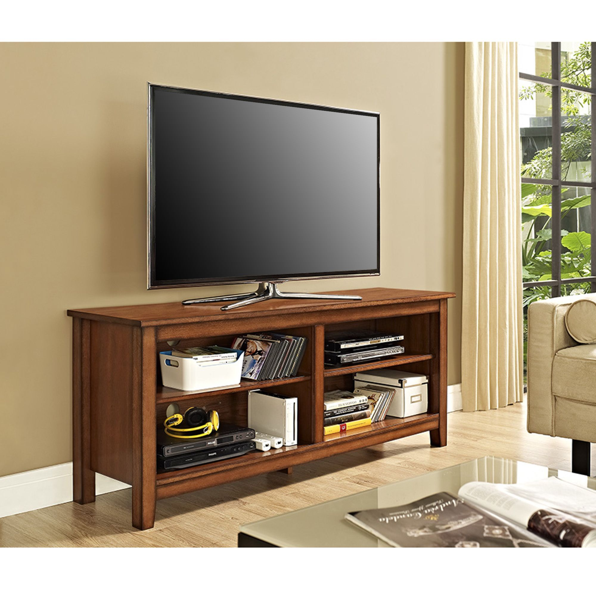Display Your Tv In Style With This 58 Inch Wood Media Stand Features  Adjustable Shelving