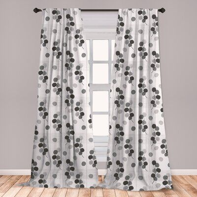 East Urban Home Ambesonne Grey Curtains, Artisan Circle Shaped Leaf Foliage Branches With Sketchy Lines Strips On Background, Window Treatments 2 Pane #autumnfoliage