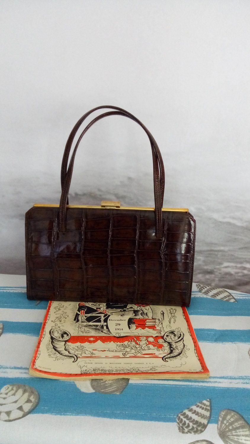 Beautiful Vintage 1940 S Croc Leather Handbag The Martin High End Authentic By Mrsoldschool On Etsy
