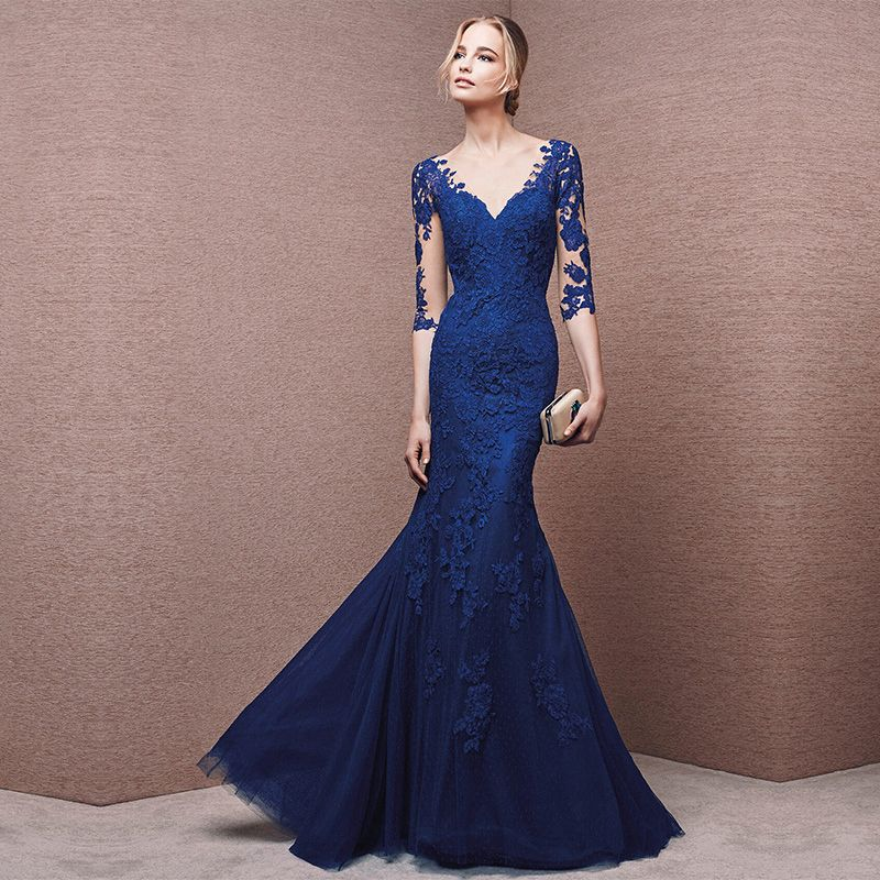 Custom Cheap Royal Blue Long Mermaid Lace Prom Dresses Gowns 2016