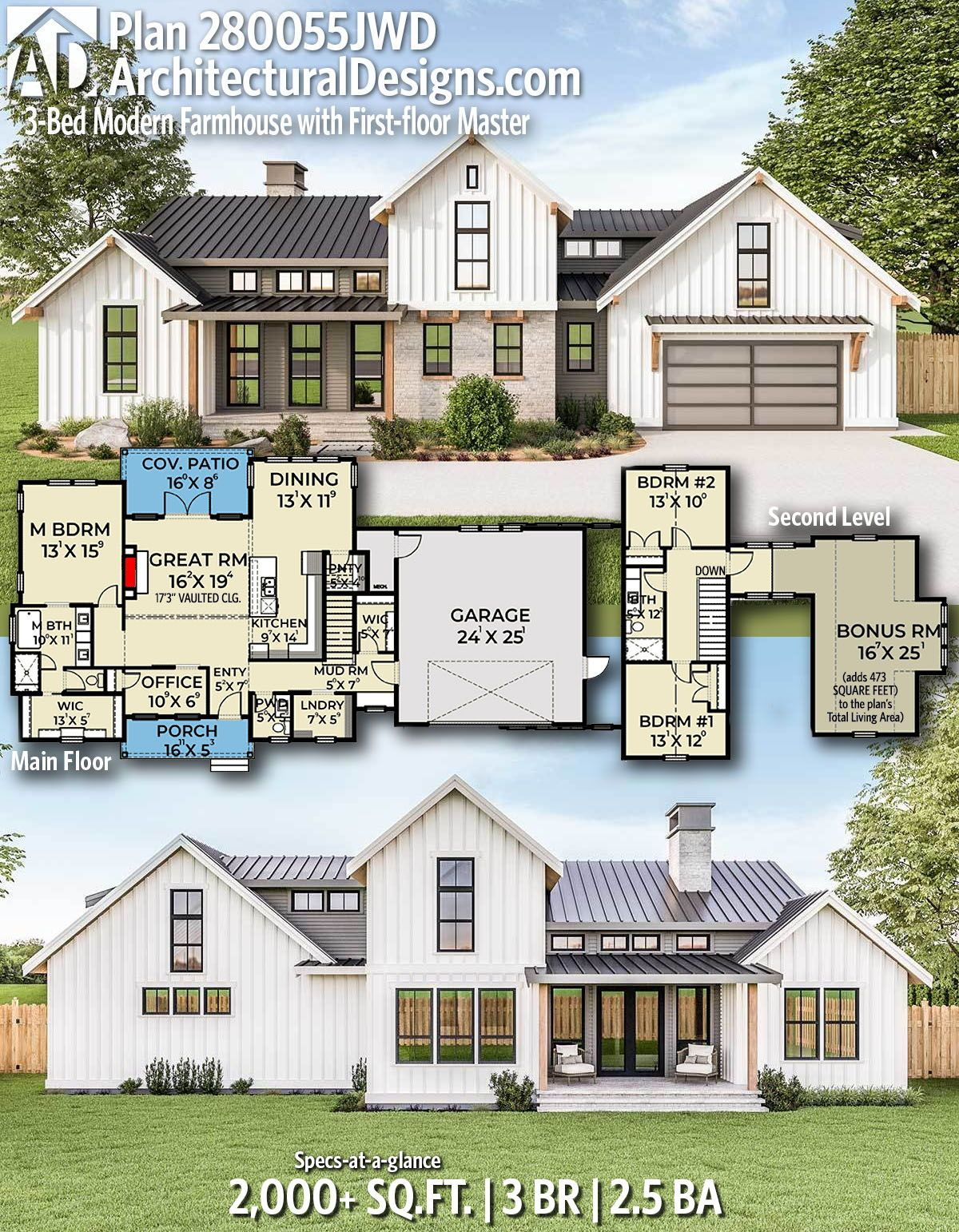Plan 280055JWD 3Bed Modern Farmhouse with Firstfloor
